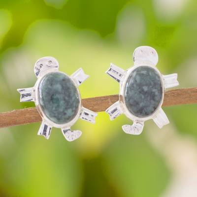 Jade button earrings, 'Marine Turtles' - Jade button earrings