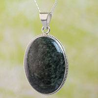 Jade pendant necklace, 'Dark Green Mystique' - Jade pendant necklace
