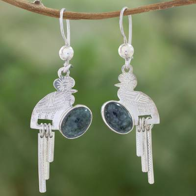 Jade dangle earrings, 'Quetzal Flight' - Handcrafted Sterling Silver Dangle Jade Bird Earrings