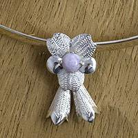 Lilac jade flower necklace,