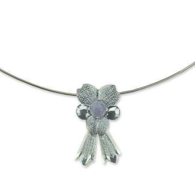 Lilac jade flower necklace