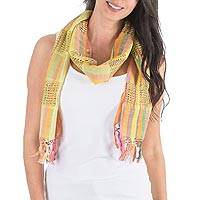 Cotton scarf, 'Gossamer Yellow' - Maya Backstrap Loom Handwoven Yellow Scarf