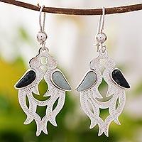 Jade Dangle Earrings Quetzal In Love (guatemala)