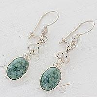 Light green jade dangle earrings, 'Love Poem' - Jade Dangle Earrings 925 Sterling Silver