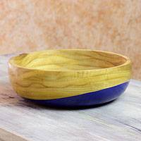 Wood bowl, 'Spicy Blue' (medium) - Dip Painted Hand Carved Wood Bowl (Medium)