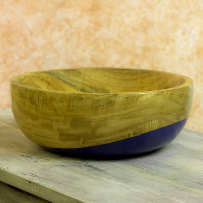 Wood bowl, 'Spicy Blue' (large) - Dip Painted Hand Carved Wood Bowl (large)