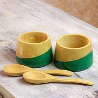 Wood salsa bowls, 'Spicy Green' (pair) - Salsa Bowls and Spoons Hand Crafted (pair)