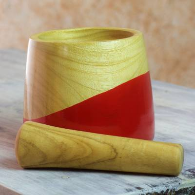 Wood mortar and pestle, 'Spicy Red' - Dip Painted Hand Carved Wood Mortar