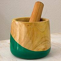 Wood mortar and pestle, Spicy Green - Dip Painted Hand Carved Wood Mortar