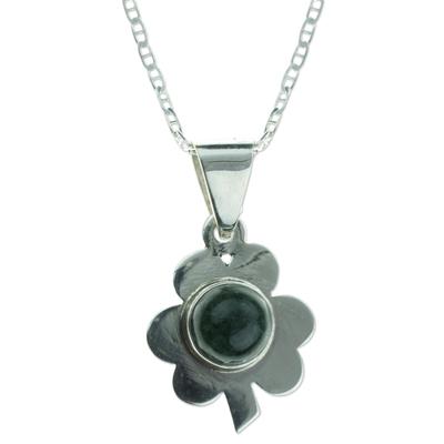 Green Jade Clover Pendant Necklace Silver 925