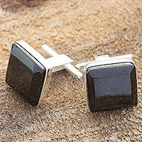 Black jade cufflinks,