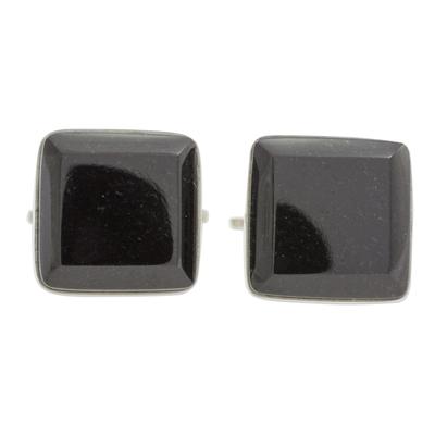 Black jade cufflinks