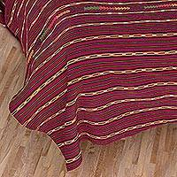 Cotton coverlet, 'Maya Burgundy' (twin) - Burgundy Cotton Coverlet (Twin)
