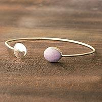 Lilac jade cuff bracelet, 'Full Moon' - Lilac jade cuff bracelet