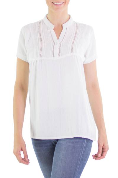 Cotton tunic, 'Fresh Floral White' - Cotton tunic