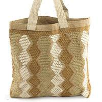 Cotton tote, 'Modern Maya' - Handwoven Cotton Tote Shopping Bag in Natural Colors