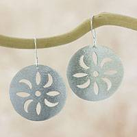 Sterling silver flower earrings, 'Chinchin' - Brushed Sterling Silver Hook Earrings