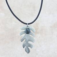 Sterling silver and jade pendant necklace, 'Fern' - Fair Trade Jewelry Jade and Sterling Silver Leather Necklace