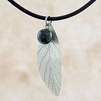 Sterling silver and jade pendant necklace, 'Coffee Leaf' - Fair Trade Jewelry Jade and Sterling Silver Necklace