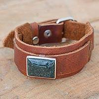 Men's leather and jade bracelet, 'B'alaj Chan K'awiil' - Jade on Brown Leather Wristband Bracelet for Men
