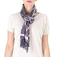 Cotton scarf, 'Mayan Skies' - Backstrap Loom Handwoven Blue and White Cotton Scarf