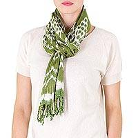 Cotton scarf, 'Mayan Meadows' - Backstrap Loom Handwoven Green and White Cotton Scarf