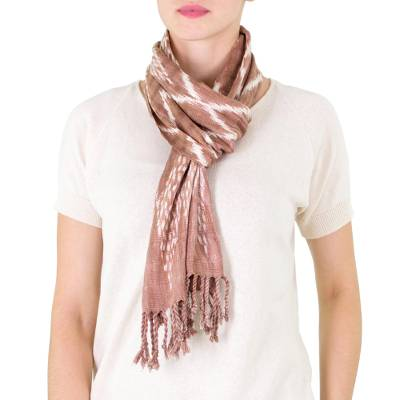 Cotton scarf, 'Mayan Coffee' - Backstrap Loom Handwoven Brown and White Cotton Scarf