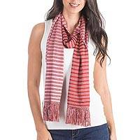 Reversible cotton scarf, 'Cherry Cream' - Backstrap Loom Handwoven Red and Pink Reversible Cotton Sca