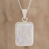 Reversible lilac jade pendant necklace,