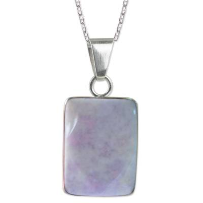 Reversible Lilac Jade and Silver Maya Glyph Necklace