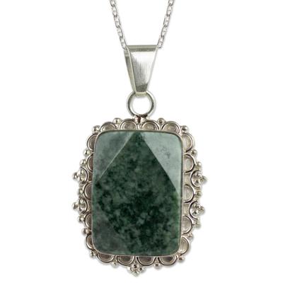 Handcrafted Dark Green Jade Pendant Necklace