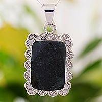 Jade pendant necklace, 'Dark Floral Halo' - Dark Green Jade and Sterling Silver Necklace Guatemala