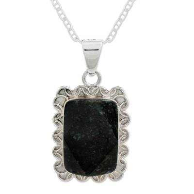 Dark Green Jade and Sterling Silver Necklace Guatemala