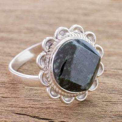 Jade cocktail ring, 'Dark Moon Aura' - Handcrafted Dark Green Jade and Silver Cocktail Ring