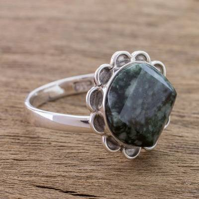 birthstone rings silver - Handcrafted Dark Green Jade and Silver Floral Ring