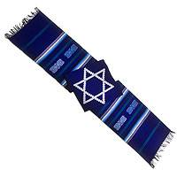 Cotton table runner, Star of David on Blue