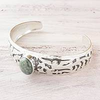 Light green jade cuff bracelet, 'Immortal Quetzal' - Jade Jewelry Hand Crafted Sterling Silver Bracelet Cuff