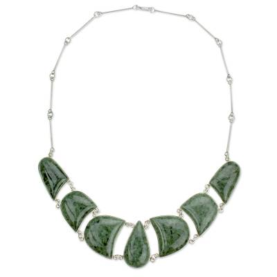 Artisan Crafted Jade Jewelry in a Sterling Silver Necklace