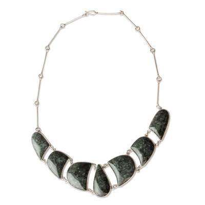 Jade and Sterling Silver Necklace Handmade Jewelry