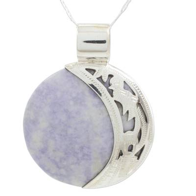 Maya Eclipse Lilac and Green Jade Pendant Necklace