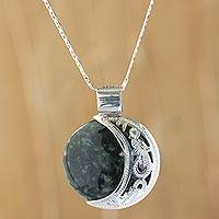 Reversible jade pendant necklace, 'Quetzal Eclipse' - Maya Eclipse Pendant Green and Black Jade on Silver Jewelry