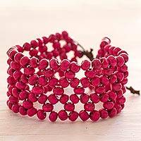 Wood beaded wristband bracelet, 'Soul Star' - Fair Trade Magenta Wood Beaded Wristband Bracelet