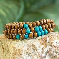 Men's wood beaded bracelets, 'Brown Spirituality' (set of 3)