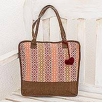 Cotton shoulder bag, 'Quiet Maya Rose' - Handwoven Brown and Pink Tote Shoulder Bag from Guatemala