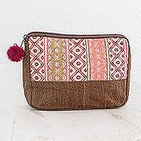 Cotton cosmetic case, 'Rose Whisper' - Handwoven Pink and Brown Cotton Cosmetic Case