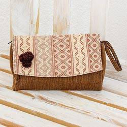 Cotton wristlet handbag, 'Brown Maya Zigzags' - Handwoven Beige and Brown Wristlet Handbag from Guatemala