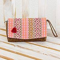Cotton wristlet handbag, 'Rose Maya Zigzags' - Handwoven Beige and Brown Tote Handbag from Guatemala
