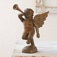 Wood statuette, 'Angelic Trumpeteer' - Hand Crafted Wood Religious Sculpture from Guatemala