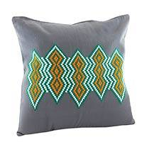 Cotton cushion cover, 'Emerald Diamonds' - Embroidered Cotton Cushion Cover