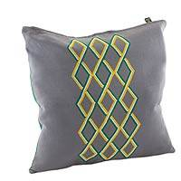 Cotton cushion cover, 'Diamond Waterfall' - Embroidered Cotton Cushion Cover